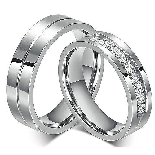 FashionLife Juego de anillo para los amantes Parejas Anillos de boda de acero inoxidable hombres mujeres