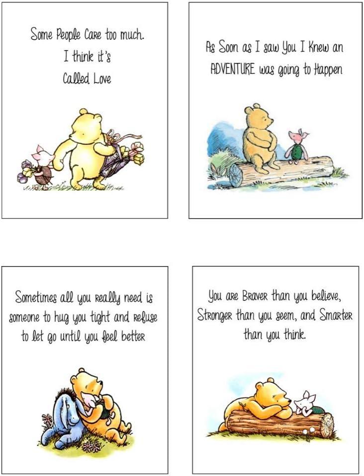 "Winnie The Pooh Baby Shower Decorations Prints - Set of 4 (8""x10"") Nursery Wall Art Decor - Baby Bedroom Decor, Nursery Decor, Kids Bathroom Wall Decor, Playroom Decor"