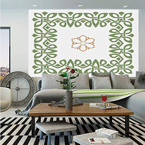 Celtic Huge Photo Wall Mural,Nostalgic Celtic Art Inspired Square Shape Frame Print with A Flower in The Centre,Self-Adhesive Large Wallpaper for Home Decor 108x152 inches,Green -
