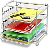 DecoBros Stackable 3 Tier Desk Organizer, Sliver