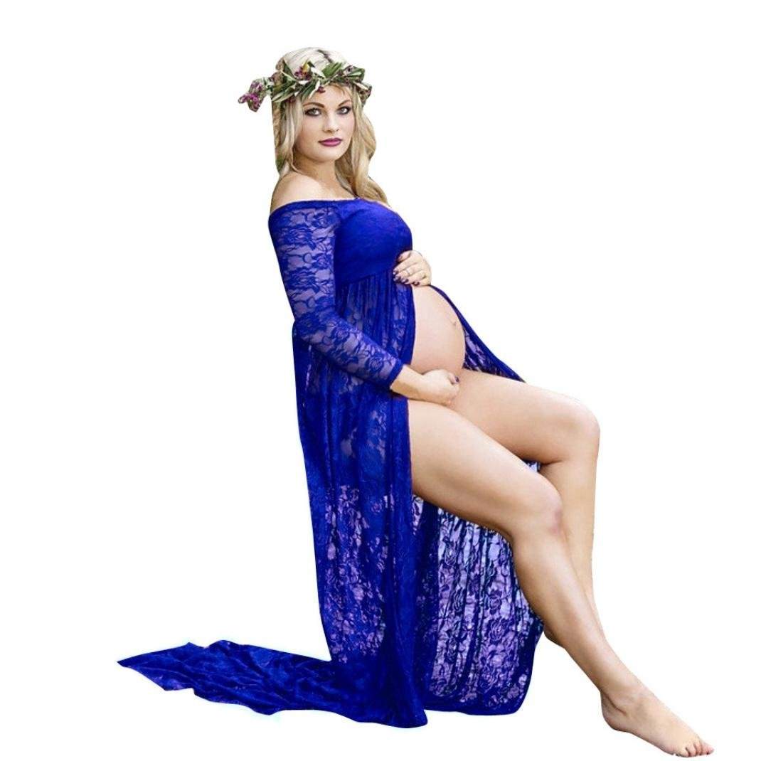 TiTCool Maternity Dress Lace Off Shoulder Long Sleeve Gown Split Front Maxi Pregnancy Photography Dress for Photoshoot and Baby Shower (L, Dark Blue)