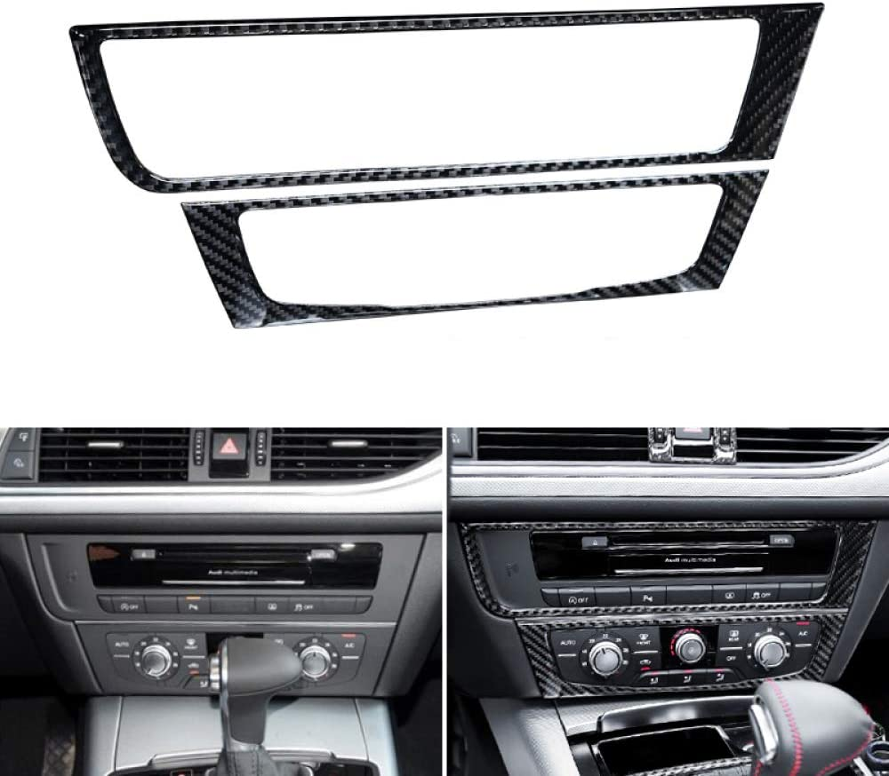 GLEETIEZ Car Styling Carbon Fiber Center Control Air Conditioning CD Panel Cover Trim,For Audi A6 C7 A6L 2012 2013 2014 2015 2016