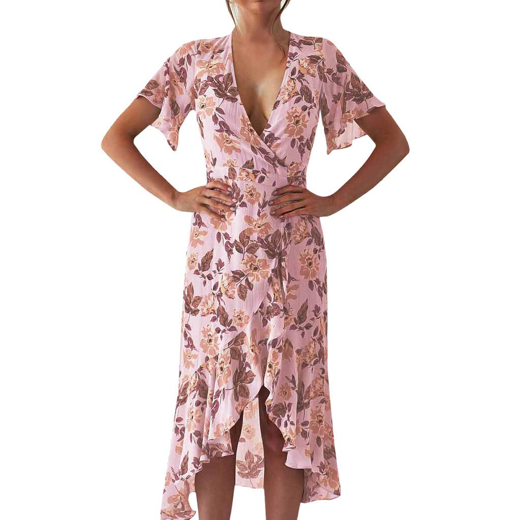 Women Ruffle Deep V Neck Maxi Dress ❤ Summer Wrap Short Sleeve High Split Vintage Floral Print Long Dresses (Medium, Pink)