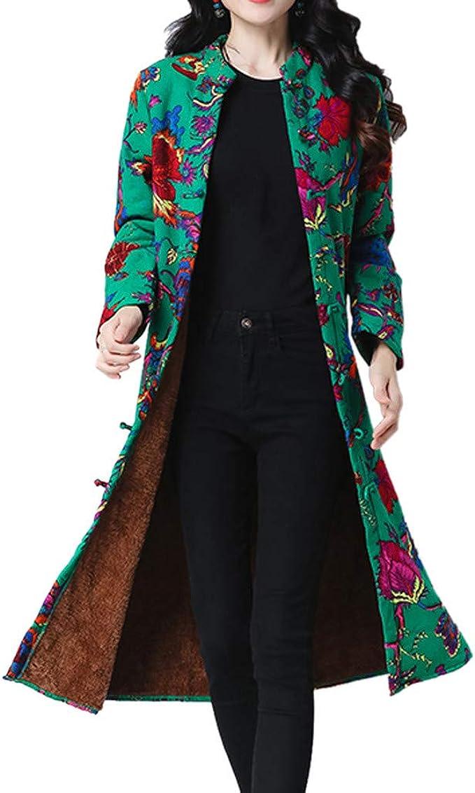 Fashion Black Women/'s Velour Lengthed Embroider Flower Wadded Jacket Coat M-5XL