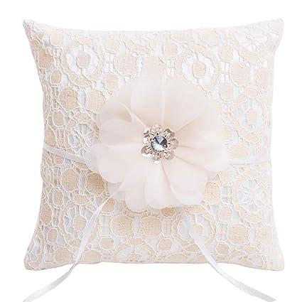 Beige Figured encaje elegante anillos de boda almohada cojín de flor de gasa y lentejuelas decoración