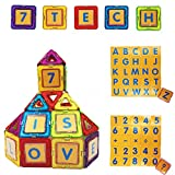7TECH 91 PCS-Magnetic Tiles Toys Educational 3D Building Blocks Extra 26 Alphanumeric Cards and 16 card cases Included