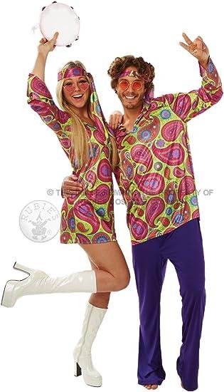 Disfraz Chica Hippie, años 70, de RubieS; para Adultos, Talla M ...