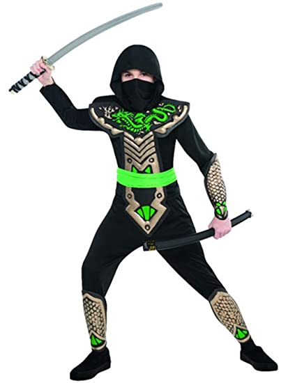 Amazon.com: Boys Black Green Dragon Ninja Samurai Japanese ...