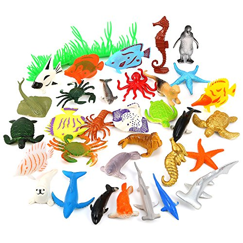 Auihiay 36Piece Ocean Sea Animals Assorted Mini Vinyl Plastic Animal Toy Set Realistic Under The Sea Life Figure Bath Toy for Child Educational]()