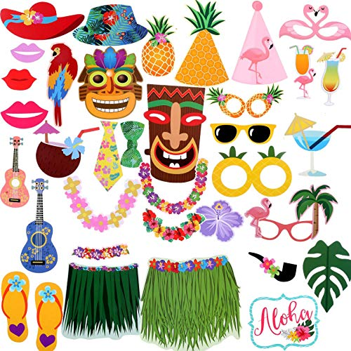 AQUEENLY Luau Photo Booth Props, 36 Pieces Hawaiian Photo Booth Props for Wedding, Birthday Party Favors and Beach Summer Pool Party Decorations Supplies ()