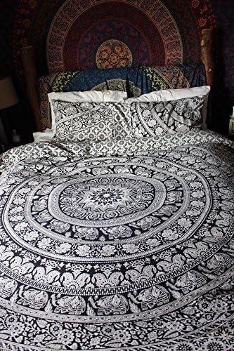 Elefante Doble Mandala edredón doona funda de algodón manta decorativa diseño indio, cama de matrimonio por Monika ...