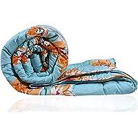 Decoforia Daisy Microfiber Reversible Quilt Blanket AC Comforter, Single, 120 GSM, Green