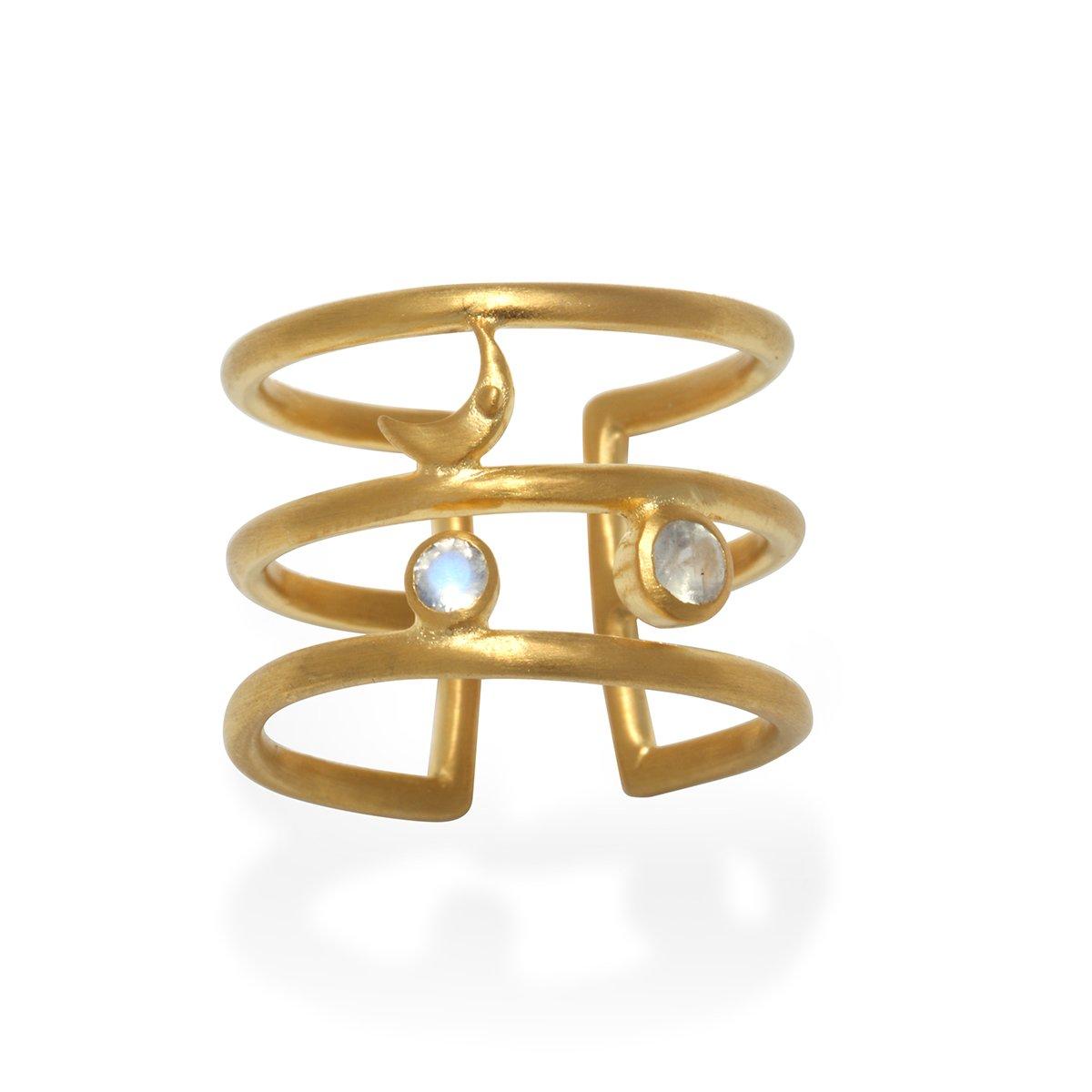 Satya Jewelry Moonstone Gold Plate Moon Phase Adjustable Ring