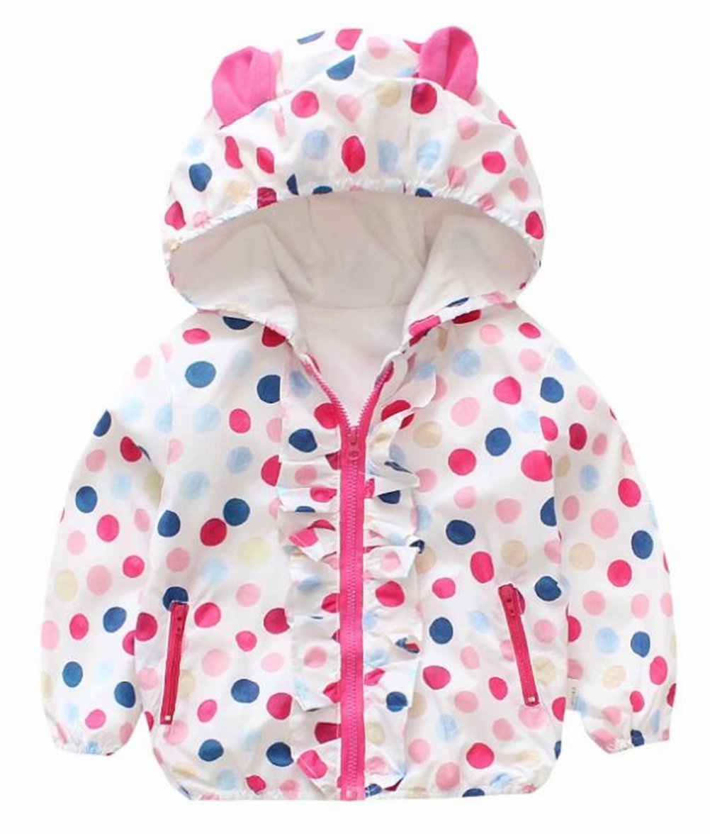 Baby Girls Cartoon Rabbit Outerwear Windbreaker Waterproof Raincoat Ruffle Zipper Hooded Jackets Coat Size 12-18Months/Tag6 (White) by UNIQUEONE