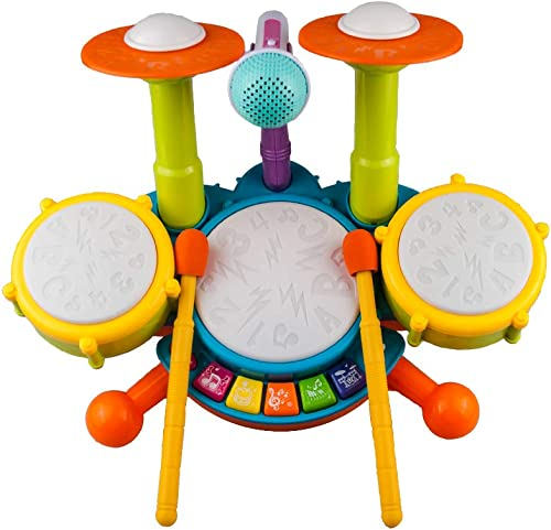 Rabing Kids Drum Set, Electric Musical Instruments Toys with 2 Drum Sticks, Beats Flash Light and Adjustable Microphone, Birthday Gift for 1-12 Years Old...