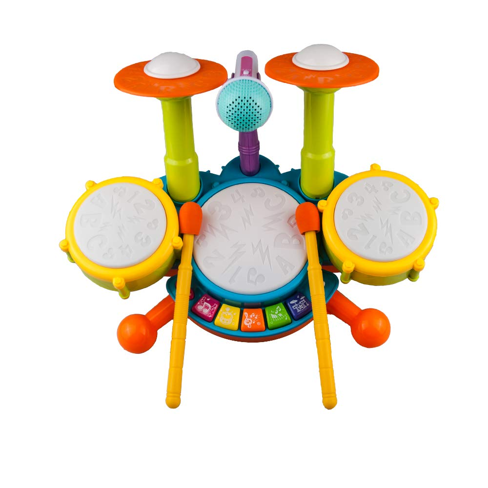 Rabing Kids Drum Set Beats Flash Light Toy Adjustable Microphone, Multicolor