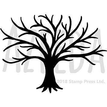 a5 bare tree silhouette wall stencil template ws00010580