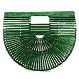 Womens Handmade Bamboo Handbag, Summer Beach Bag for Women Ark Acrylic Clutch Handbag Large Tote Bag Beach Bag (Green)