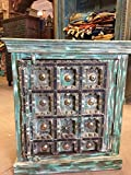 Mogul Interior Rustic Side Cabinet Furniture Antique Turquoise Distressed Patina Chest