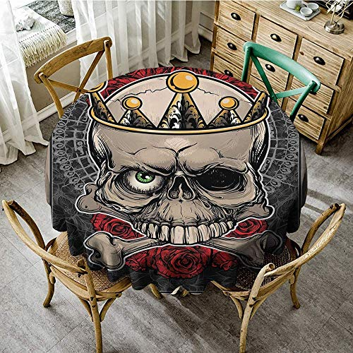 DONEECKL Restaurant Tablecloth Gothic Skull with Crown Roses Bones Dead King Halloween Illustration Art Indoor Outdoor Camping Picnic D67 Tan Marigold Dark Grey Red
