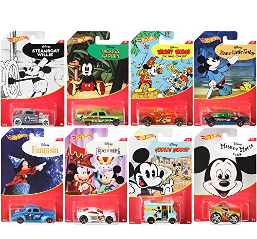 Price comparison product image Mickey Mouse Series Hot Wheels Exclusive 8 Car Set - Steamboat Willie / Fantasia / Brave Little Tailor / Band Concert / Prince Pauper / Club