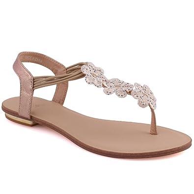 37a43137bd6 Unze Women  Adrianna  Floral T-Strap Party Sling Back Sequins Get Together  Elastic Back Strap Carnival Ladies Evening Flat Sandals UK Size 3-8  ...
