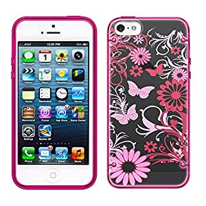 iPhone 5 Pink Butterfly on Black See Through Case with Glow Pink Trim