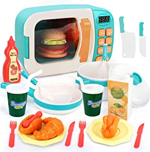 BeebeeRun Microwave Play Kitchen Set,Kids Pretend Play Electronic Oven with Play Food,Cookware Pot and Pan Toy Set,Toddlers Pretend Kitchen Playset Children Toy Food Set