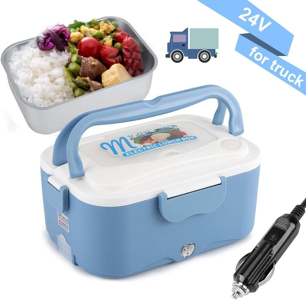 1.5L Fiambrera eléctrica comida térmico Lunch Box Fiambreras bento Uso en coche eléctrica con Small Dish Box palillos Tenedor Cuchara Recipiente de comida térmico 45W