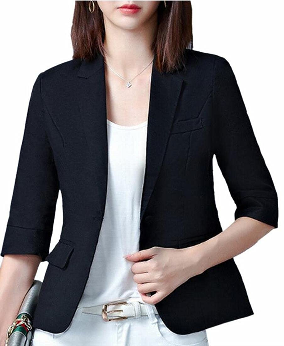 Hot Brd-UK Women\'s 3/4 Sleeve Comfort Soft Formal One Button Blazer Jacket