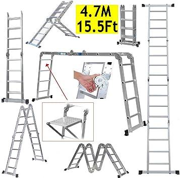 Escalera plegable multiusos de 15.5 pies, escalera extensible de aluminio para escalera de alta resistencia, bandeja extensible para herramientas, bisagra de bloqueo de seguridad con capacidad de 330 libras: Amazon.es: Bricolaje y