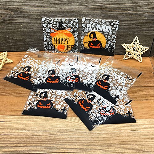 Efivs Arts 200 Pcs Halloween Cookie Decorating Bags Pumpkin Ghost Star cookie packaging bags Self-adhesive for Bakery Candy Biscuits Cake Baking Package
