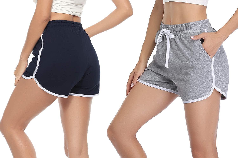 Aibrou Short de Sport pour Homme Pantalon en 100/% Coton Court,Pantalon D/écontract/é Homme pour Jogging Tennis Running Fitness et Training