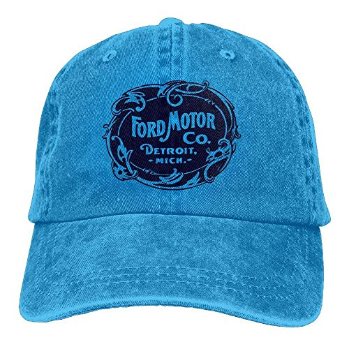 Vintage Ford Motor Company Detroit Retro Cool Adjustable Travel Cotton Washed Denim Caps Natural
