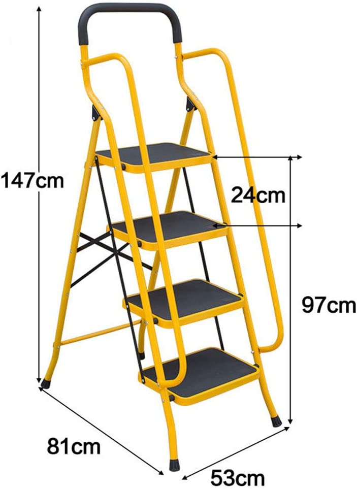 YXIUER Folding 4-Step/5-Step Safety Step Ladder - Non-Slip Step Ladder Folding Stool w/Anti-Slip Handrails Grip and Side Handrails, Step Stool Step Ladders for Home and Office Use,4Step