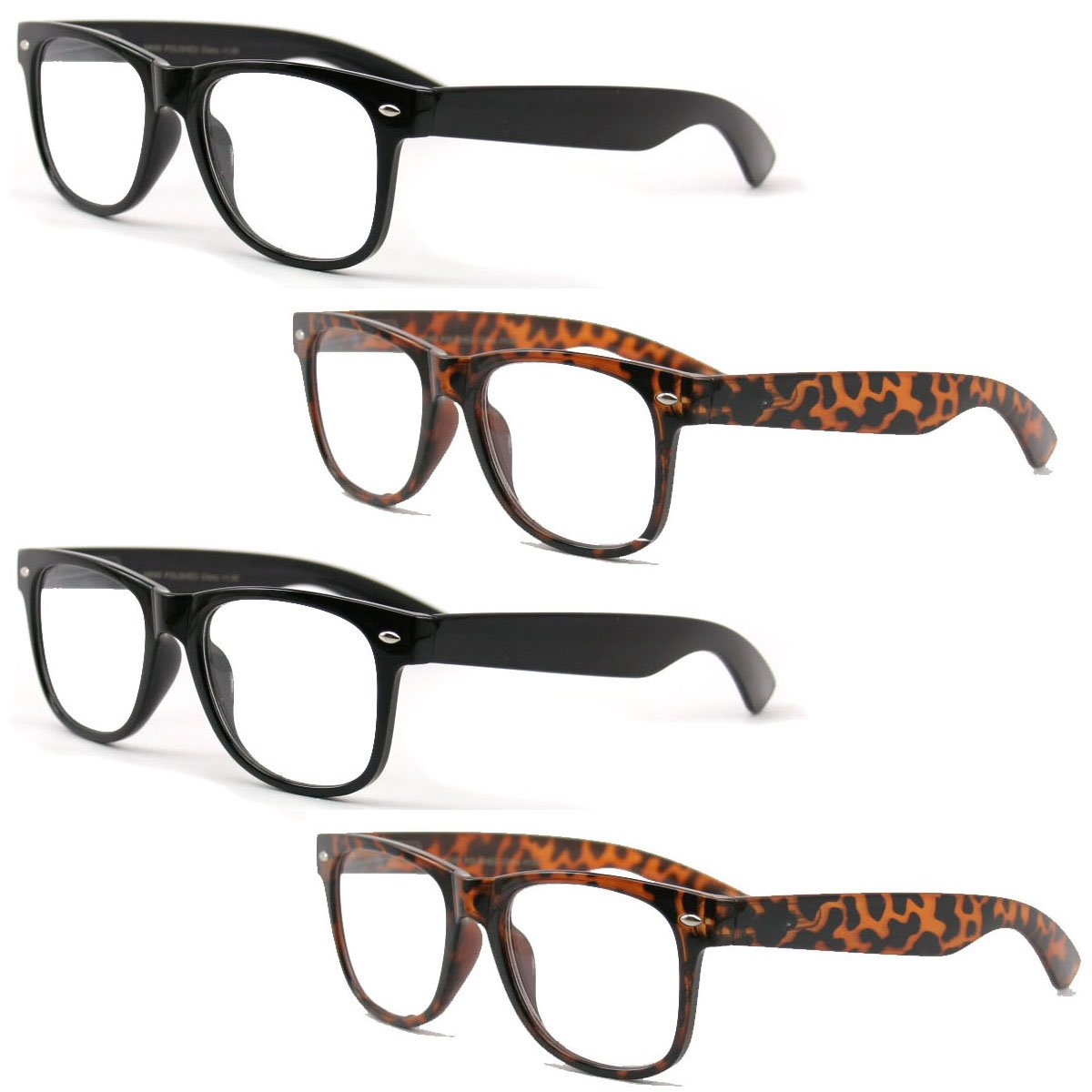 4 Pairs Reading Glasses - Comfortable Stylish Simple Readers Rx Magnification - Anti-Reflective AR Coating (2 Black 2 Tortoise, 1.50)