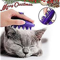 [Soft Silicone Pins] Ultra-Soft Silicone Washable Cat Grooming Shedding Massage / Bath Brush - Safe & No Scratching any more - Purple