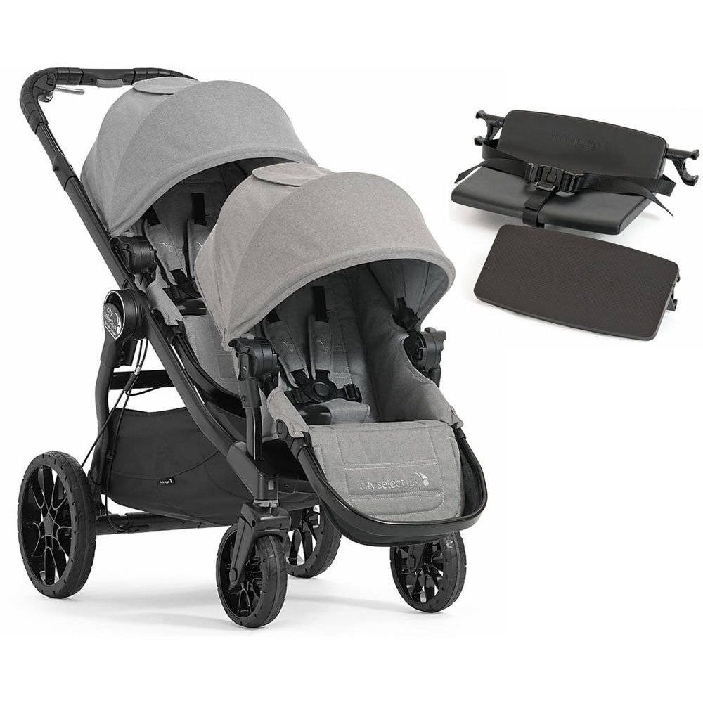 Baby Jogger City Select Lux with Second Seat Double Stroller - Slate with Bench Seat by Baby Jogger