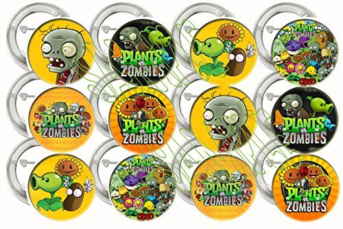 "Plants vs Zombies Video Game Party Favors Supplies Decorations Collectible Metal Pinback Buttons, Large 2.25"" -12 pcs (Zombie Decorations Ideas)"