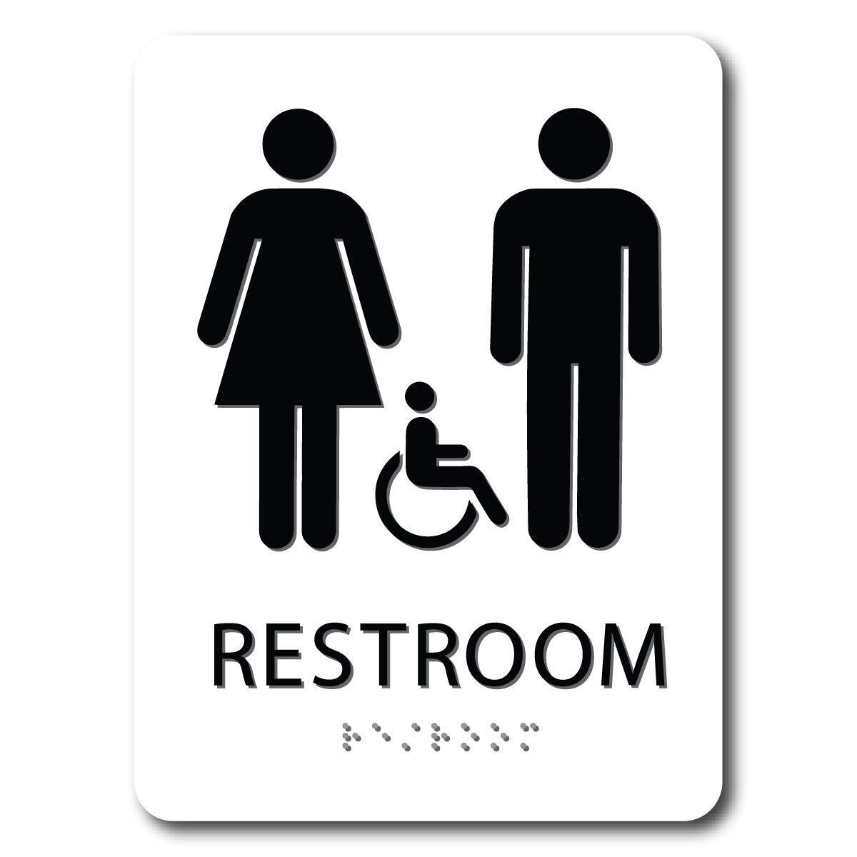 White 6 x 8 ADA Braille Unisex Restroom Sign