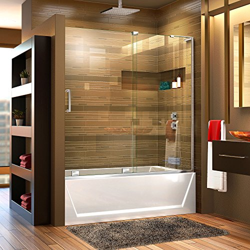 DreamLine Mirage-X 56-60 in. Width, Frameless Sliding Tub Door, 3/8'' Glass, Chrome Finish by DreamLine