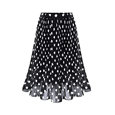 HENWERD Womens Polka Dot Pleated High Waist Midi Skirt Flared Skater Swing Holiday at Women's Clothing store