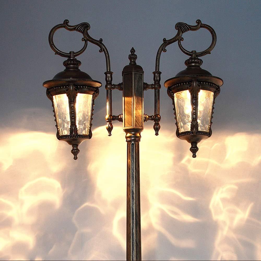 HDMY Impermeabile Street Light Outdoor Led 3 metri Paesaggio High Pole Colonna Lampada Villa Comunità Doppia testa Pillar Light Garden Road Light European Retro Post Lantern (Dimensione   320cm)