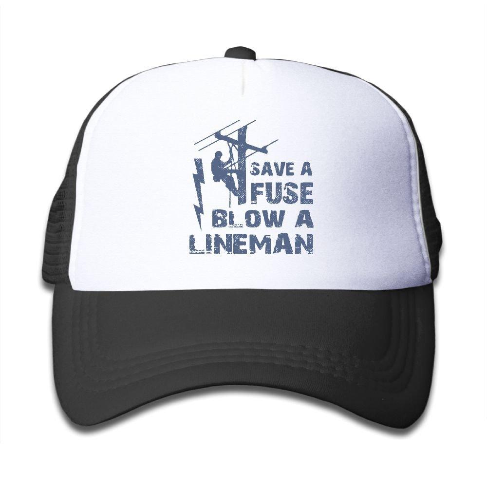 Kid's Boys Girls Lineman Save A Fuse - Blow A Lineman Youth Mesh Baseball Cap Summer Adjustable Trucker Hat