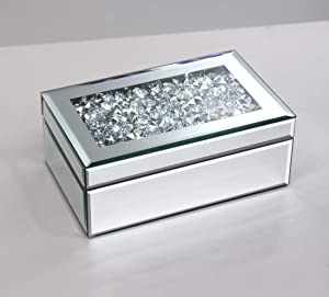 qmdecor Silver Crushed Diamond Storage Jewelry Box Luxury high Grade Glass Mirrored Jewelry Boxes for Women