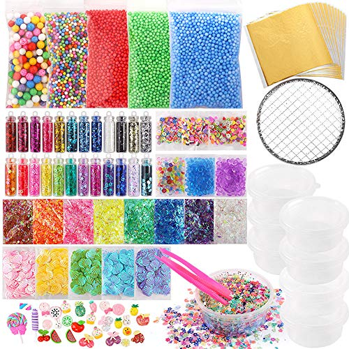 (Holicolor 110 Pcs Slime Making Supplies Kit Slime Add Ins Include Foam Balls, Fishbowl Beads, Glitter Sequins Accessories, Shells, Candy Slime Charms, Slime Containers for Slime Party)