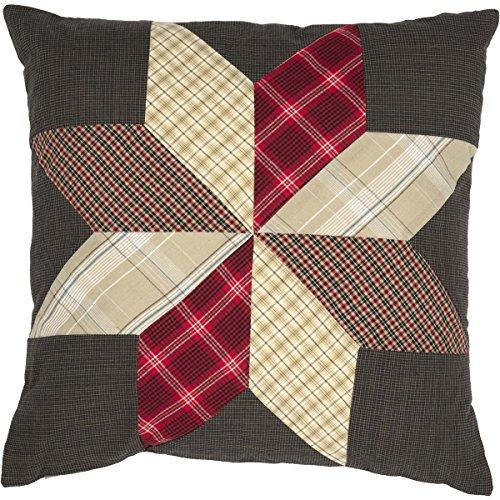 VHC Brands Navy Blue Primitive Americana Decor Liberty Stars 18x18 Patchwork Pillow ()