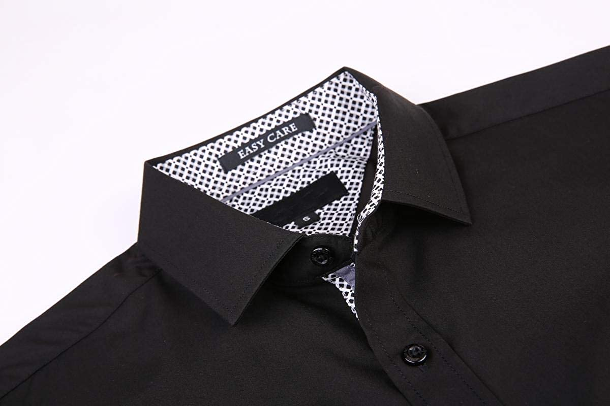 Esabel.C Mens Dress Shirts Wrinkle Free Regular Fit Long Sleeve Solid Bamboo Fiber Button Down Shirts