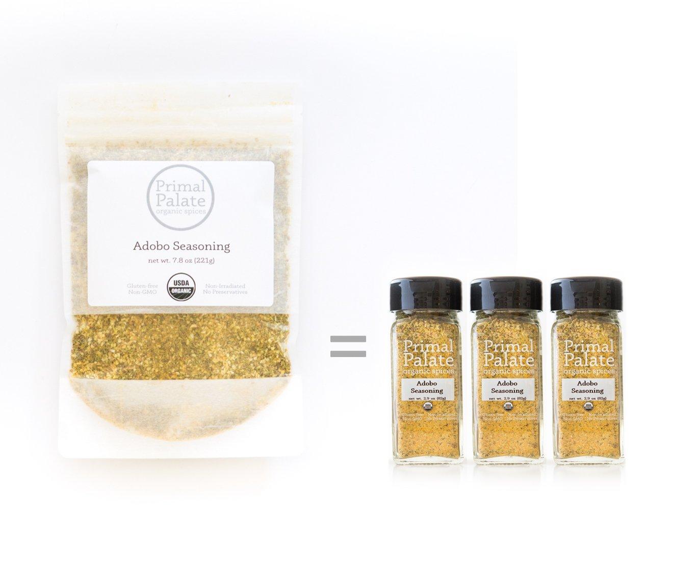 Primal Palate Organic Spices, Adobo Seasoning, Certified Organic, 7.8 oz resealable bag
