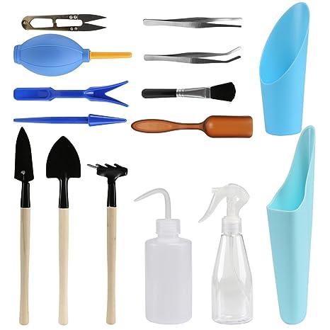 LIHAO Set de 15 herramientas de mano de jardín en miniatura para plantar hadas, para